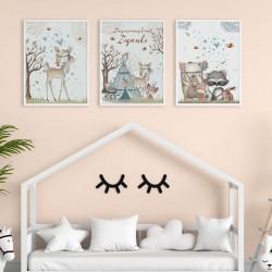PLAKATY dla dziecka do pokoju A4/A3 Boho Zwierzątka 3szt