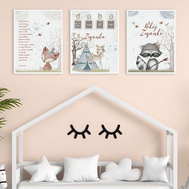 Plakaty do pokoju dziecka zwierzątka boho