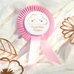 PRZYPINKA z kotylionem dla Przyszłej Mamy Baby Shower Chmurka RÓŻOWA Z IMIENIEM