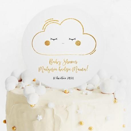 TOPPER na tort Chmurka Baby Shower Z IMIENIEM