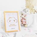DEKORACJA stołu na Baby Shower Tabliczka Chmurka (+złota ramka)