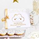 KSIĘGA Porady i Życzenia dla Przyszłej Mamy Chmurka Baby Shower Z IMIENIEM (+złota wstążka)