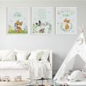 PLAKATY dla dziecka do pokoju Z METRYCZKĄ w ramie A4 Leśne Zwierzątka 3szt