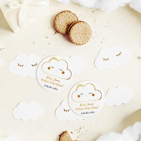 PRZYPINKA personalizowana na  Baby Shower Chmurka Z IMIENIEM