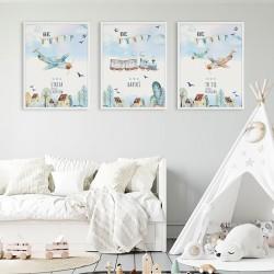 PLAKATY dla dziecka do pokoju  A4/A3 Chłopięcy Świat 3szt