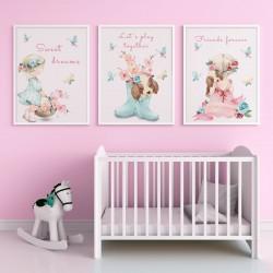 PLAKATY dla dziecka do pokoju A4/A3 Dziewczynka z pieskiem 3szt