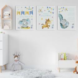 PLAKATY dla dziecka do pokoju Z METRYCZKĄ w ramie A4 Słonik z serduszkiem 3szt