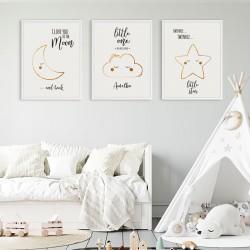 PLAKATY dla dziecka do pokoju A4/A3 Chmurka 3szt