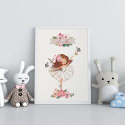 PLAKAT dla dziecka do pokoju Z IMIENIEM A4/A3 Ballerina
