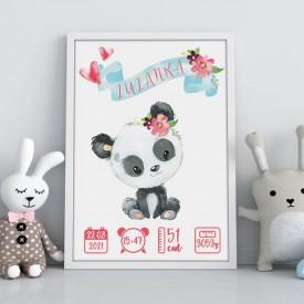 METRYCZKA dziecka w ramie A4 Z IMIENIEM Panda