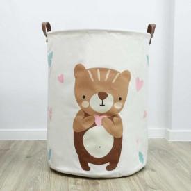 POJEMNIK na zabawki worek na pranie 35x45cm MIŚ Z SERCEM