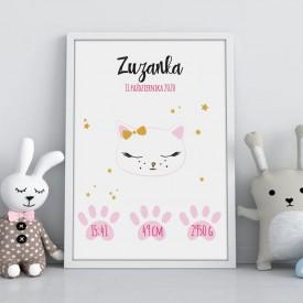 METRYCZKA dziecka w ramie A4 Z IMIENIEM Słodki Kotek