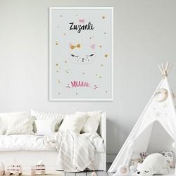 PLAKAT dla dziecka do pokoju Z IMIENIEM A4/A3 Słodki Kotek