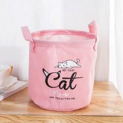 POJEMNIK na zabawki worek na pranie 20x20cm PINK CAT