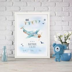 METRYCZKA dziecka w ramie A4 Z IMIENIEM Samolot Chłopięcy Świat