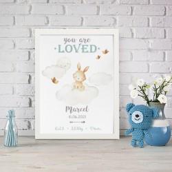 METRYCZKA dziecka w ramie A4 Z IMIENIEM Chmurka z króliczkiem