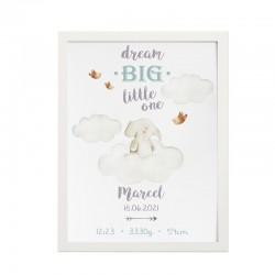 METRYCZKA dziecka w ramie A4 Z IMIENIEM Chmurka ze słonikiem
