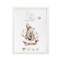 METRYCZKA dziecka w ramie A4 Z IMIENIEM Boho Niedźwiadek