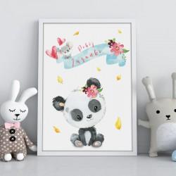 PLAKAT dla dziecka do pokoju Z IMIENIEM A4/A3 Panda i koala