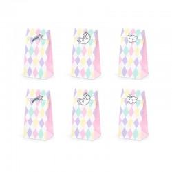 TOREBKI papierowe na słodycze pastelowe romby Jednorożec 6szt. (+ naklejki)