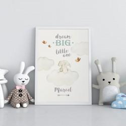 PLAKAT dla dziecka do pokoju Z IMIENIEM A4/A3 Big Dream