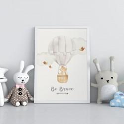 PLAKATY dla dziecka do pokoju A4/A3 Chmurki z balonem 3szt