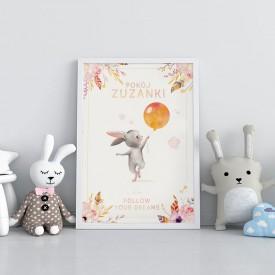 PLAKAT dla dziecka do pokoju Z IMIENIEM A4/A3 Króliczek z balonem