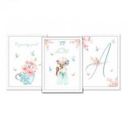 PLAKATY dla dziecka do pokoju A4/A3 Flower Girl 3szt