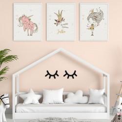 PLAKATY dla dziecka do pokoju A4/A3 Królewna i Jednorożec 3szt