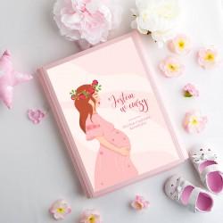 TECZKA ciążowa na dokumenty, USG Z IMIENIEM kwiaty Różowa