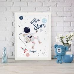 PLAKAT dla dziecka do pokoju Z IMIENIEM A4/A3 Astronauta