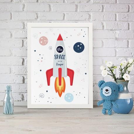 PLAKAT dla dziecka do pokoju Z IMIENIEM A4/A3 Astronauta Rakieta