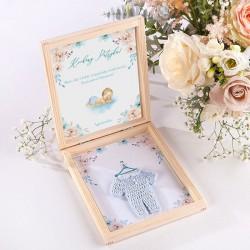 GRATULACJE dla męża Zostaniesz Tatą w pudełku NIEBIESKI KUBRACZEK