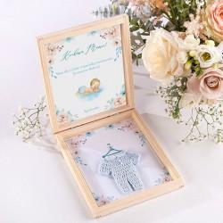 GRATULACJE dla dziadków Zostaniesz Babcią/Dziadkiem w pudełku NIEBIESKI KUBRACZEK