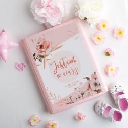 TECZKA ciążowa na dokumenty, USG Z IMIENIEM Kwiaty Rosegold