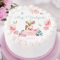 OPŁATEK na tort Roczek Dziewczynka z pieskiem Z IMIENIEM Ø20cm