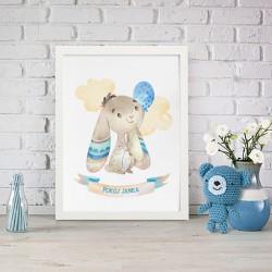 PLAKAT dla dziecka do pokoju Z IMIENIEM A4/A3 Niebieski Króliczek dla chłopca