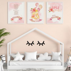 PLAKATY dla dziecka do pokoju Z METRYCZKĄ w ramie A4 Różowy Króliczek 3szt