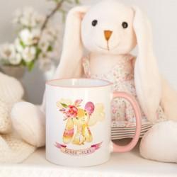 KUBEK dla dziecka Różowy Króliczek Z IMIENIEM
