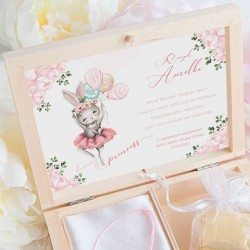 PREZENT na Roczek w pudełku Króliczek Ballerina Bransoletka Nieskończoność POZŁACANA