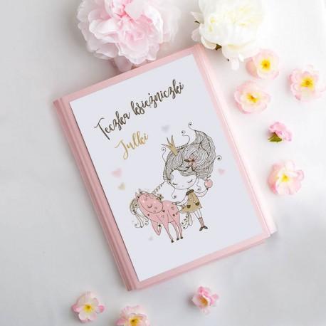 TECZKA dla dziecka na rysunki Księżniczka Z IMIENIEM Różowa