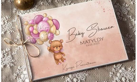 Baby Shower dziewczynki Bocian Różowy