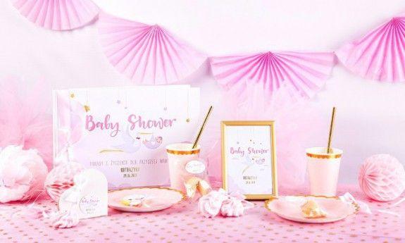 Bocian Różowy Baby Shower