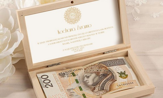 Pudełka na pieniądze Komunia, karnety, torby