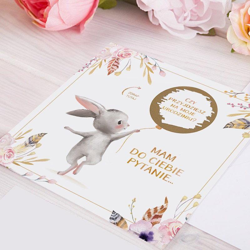 Zaproszenie na urodziny dziecka ze zdrapką
