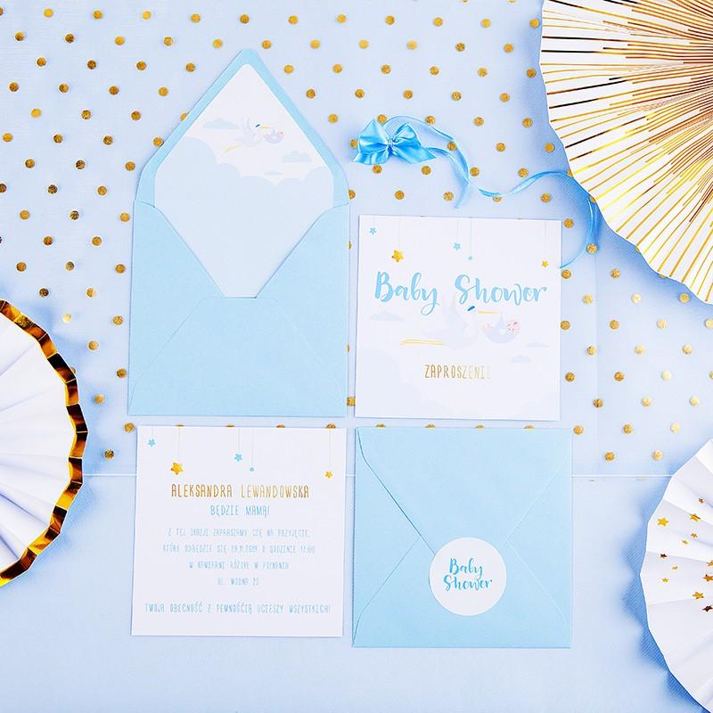 Zaproszenia na Baby Shower Bocian Niebieski