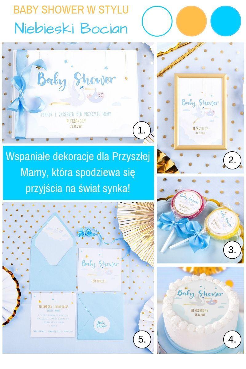 Niebieskie dekoracje na baby shower dla chłopca