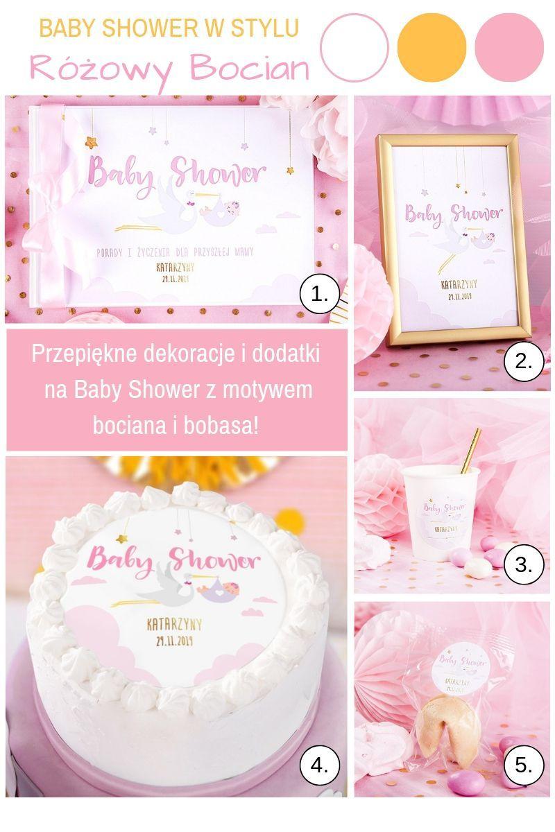 Różowe dekoracje na baby shower dla dziewczynki