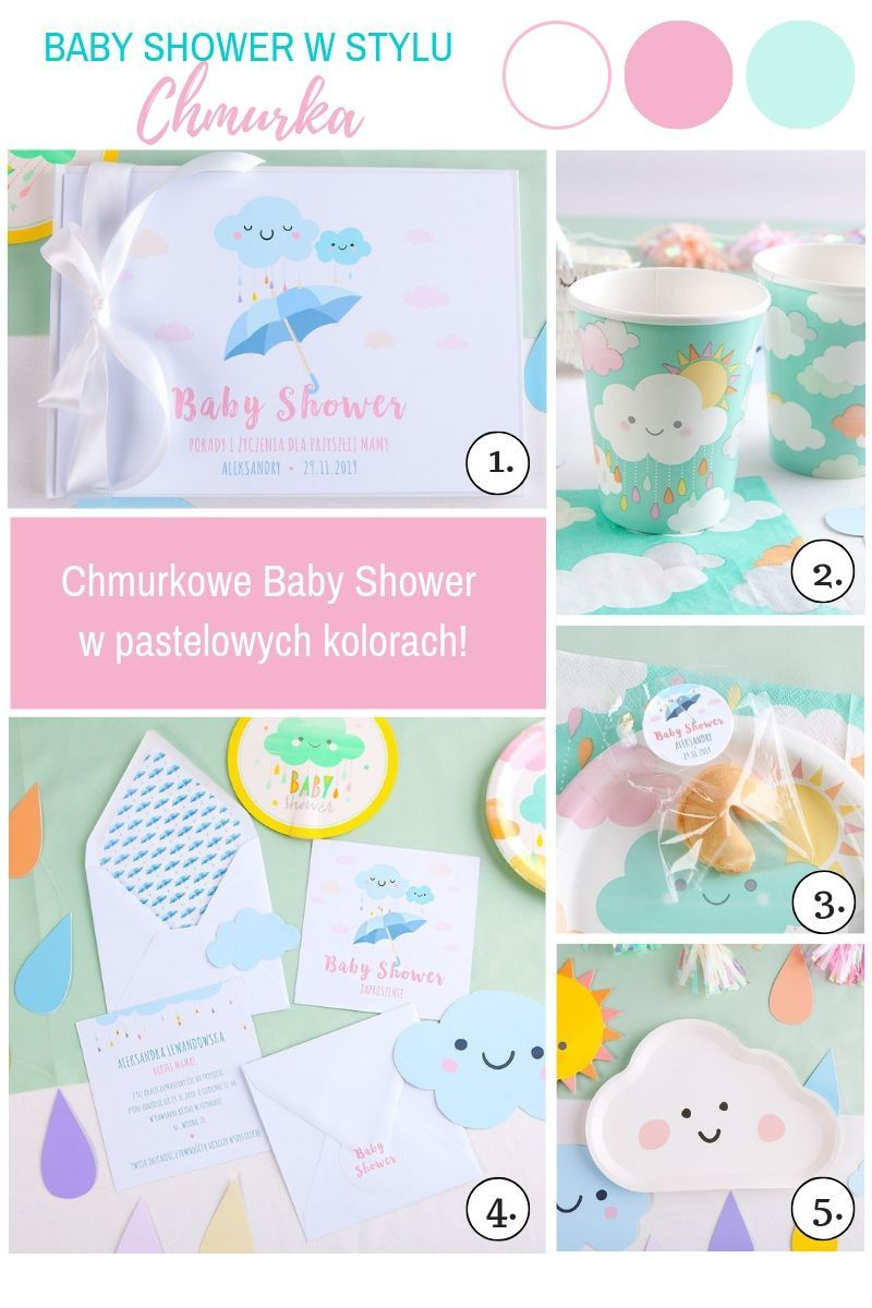 Pastelowe dekoracje na baby shower z chmurką