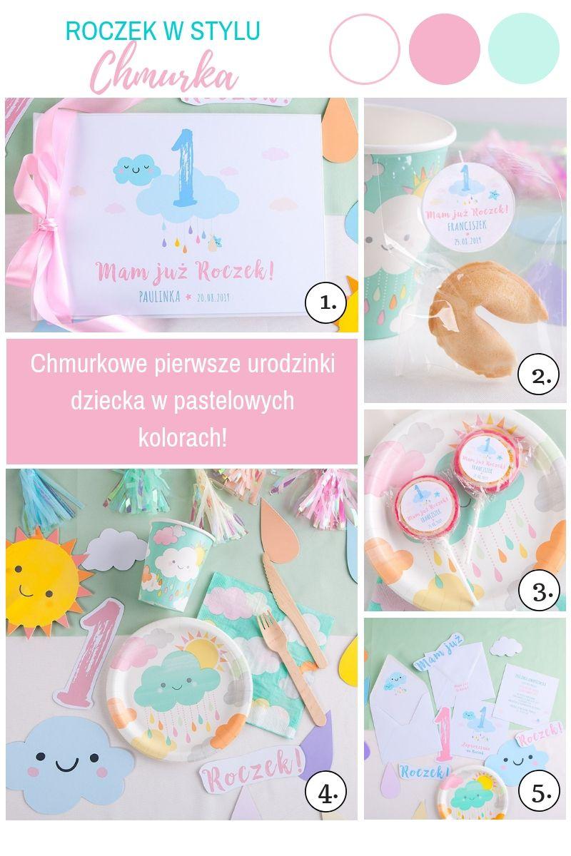 Dekoracje na Roczek dziecka pastelowe chmurki